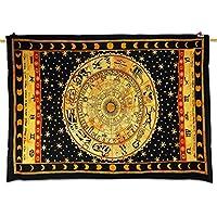 Healing Crystals India etnica nero Tapestry Astrologia Stampa parete Décor Runner da letto, Twin