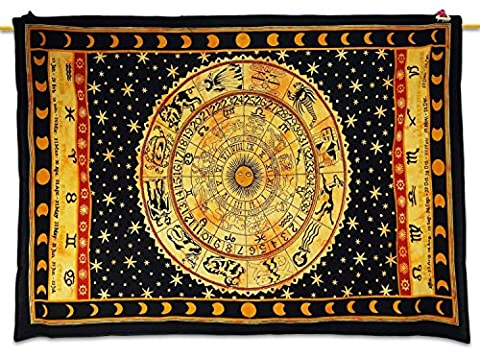 Healing Crystals India Ethnic Black Tapestry Astrology Print Wall Décor