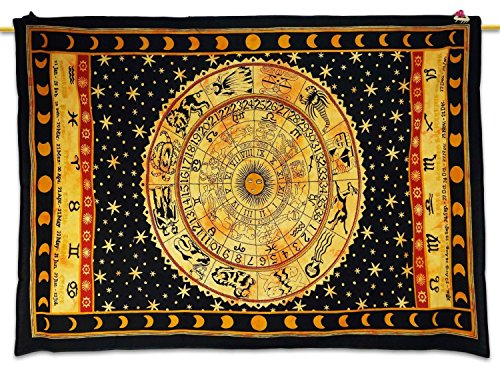 Healing Crystals India Ethnic Black Tapestry Astrology Print Wall Décor Table Runner Bed Cover Twin