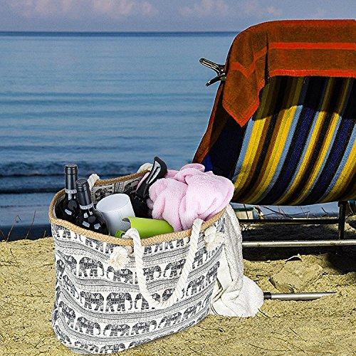 Borsa da Viaggio in Tela di Canapa da Spiaggia, ZWOOS Borsa Da Spiaggia Grande Tela Borsa a Spalla Tote Da Viaggio + Portamonete con Chiusura Zip per Donna e Ragazza (Stella marina) Elefante