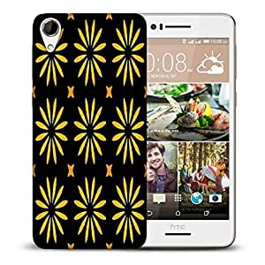 Snoogg Yellow Floral Printed Protective Phone Back Case Cover For HTC Desire 728