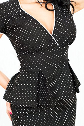40s Pencil Schößchen Polka Dots Pin Up RETRO Rockabilly Etuikleid Kleid L -