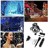 Wokee Schneefall beleuchtet Projektor beleuchtet wasserdichte Star Lampe Projektor mit Fernbedienung Shower Schneeflocke funkelnde weiße Schnee-Dekorbeleuchtung