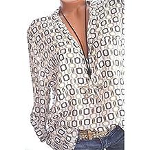 Chemisier Femme Chic Grande Taille Hauts Femme Fluide Imprimé Géométrie de  Bouton Top Blouse Manche Longue e6a3ac12dda