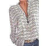 Tops Damen Sommer Plus Size Chiffon Blumendruck Langarm Bluse Pullover Tops Shirt