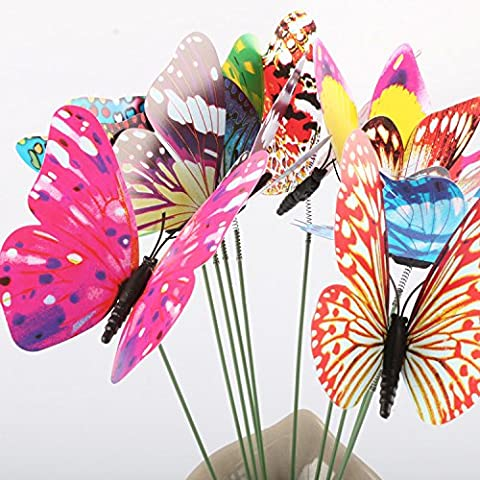 Aoxintek 9cm 20Pcs Night luminated Colourful Garden Butterflies On Sticks Garden Yard Planter Decoration Flowerpot Patio