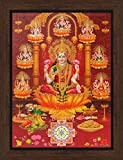 Avercart Goddess Laxmi / Shri Lakshmi / Laxmiji / Goddess of Wealth / Laxmi with 8 forms of her Poster 12x16 inch with Photo Frame (30x40 cm framed)
