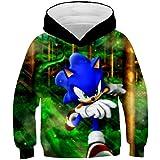 hhalibaba Sonic The Hedgehog 3D Sudaderas con Capucha para niños para niñas Sonic Sudadera para niños para niños Niñas Sudade