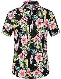 SSLR Camisas Manga Corta Hombre Casual Estampada Flores Ajustado