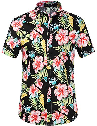 SSLR Herren Baumwolle Button Down Kurzarm Hawaiihemd (Medium, Black) (Hawaii-hemd, Herren Medium)