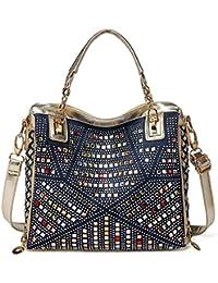 acff09db98632 ZXCB Frauen Denim Bag Vertikal Style Casual Strass Tasche Große Kapazität  Schultertasche