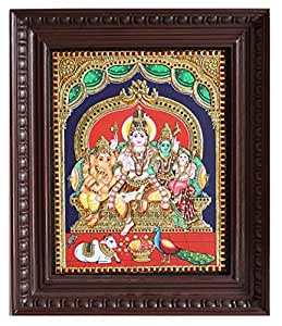 """Timeless Tanjore:: Shiva with family Tanjore painting - 15"""" X 12"""""""