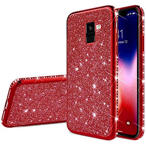 Herbests Kompatibel mit Samsung Galaxy A8 2018 Hülle Glitzer Mädchen Schuzhülle Kristall Bling Glitzer Strass Diamant Überzug Ultra Dünn Durchsichtige Transparent Silikon Handyhülle Tasche,Rot