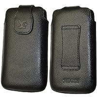 Original Suncase Echt Ledertasche für HTC Evo 3D in vollnarbiges-schwarz