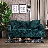 SSDLRSF emboss Bestickte Sofa Abdeckung Luxus-Überzüge universelle Stretch Big Elastic Sitz Couch deckt Loveseat Funiture (90-300cm), Grün, 1 Sitzer 90-140cm