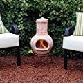 Kingfisher 75cm Small Terracotta Wood Burning Chiminea Outdoor Garden Furniture by Bonningtons
