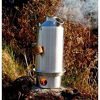 Base Camp' Kelly Kettle® 1.6ltr (Anodised Aluminium) WITH UPGRADED STAINLESS STEEL FIRE-BASE and Green Whistle which has replaced the Orange Stopper - Camping Kettle and Camp Stove in one. Ultra fast lightweight wood fueled camp stove for solo or group use. NO Batteries, NO Gas, Fuel is FREE! For Fishing, Hunting, Scouts, Family Picnics. Weight 1.8lb / 0.8kg 8