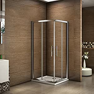 800x700mm double sliding doors walk in 6mm glass corner for Door 4 montpellier walk