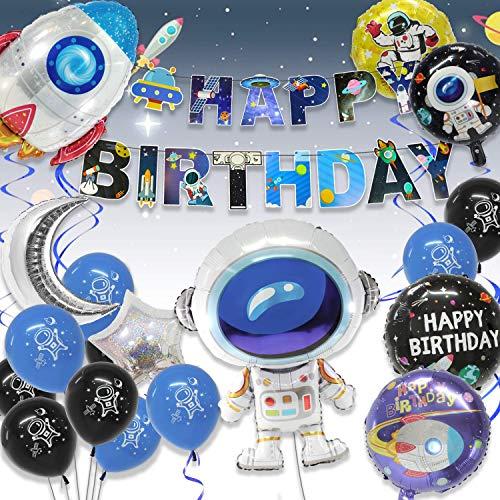 Geburtstagsdeko für Mädchen und Jungen, Weltraum Geburtstag Party Dekoration Astronauten Raketen Folienballon mit Happy Birthday UFO Banner, Astronautenmuste Latexballons und Blau Spiralen Dekoration.