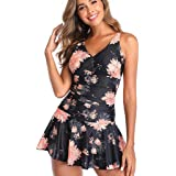 Women Plus Size One Piece Swimsuit Tankini, Ladies V-neck Floral Printed Swimdress Swimwear