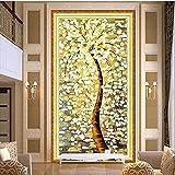 5D DIY Golden Tree Stickerei Diamant Malen Douglasie Full Bohrer rund Strass Mustertuch Diamant Gemälde Kreuzstich Kits Home Decor 80*150cm gold