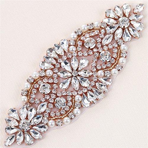 Handmade Crystal Parches Rhinestone Applique para el marco nupcial y  cinturones (Clear Rose Gold) a8fa938fbb2b