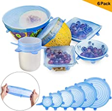 Safety Silicone Stretch Lids Blue - KACOOL 6Pcs Reusable Silicon Various Sizes Lids Cover For Bowl, Cups, Mugs, Glasses, Cans, Plates, Kitchen Utensils, Mason Jars ETC to Keep Food Fresh, Dishwasher Microwave and Freezer Safe