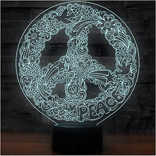 Hippie Zeichen - Nachtlicht Hippie-Zeichen-Form-Nachtlichter Der Kunst-3D Für 7