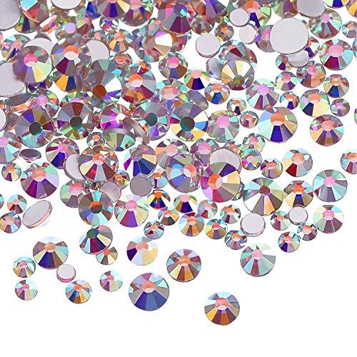 3456 Stücke Nagel Kristalle AB Nagel Kunst Strass Runde Perlen Flache Rückseite Glas Charms Edelsteine, 6 Größen für Nägel Dekoration Makeup Kleidung Schuhe (Gemischt SS3 4 5 6 8 10, Kristall AB)