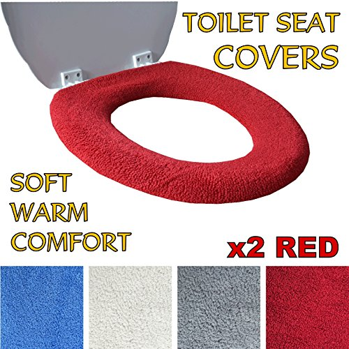 toilet-seat-cover-super-warm-fleece-retaining-ring-universal-fit-machine-washable-2x-red