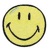 XL Bügelbild - Smiley gelb - 12,5 cm * 12,5 cm - Aufnäher gewebter Flicken / Applikation - Gesichter Smile Emotion Smileys / lachend grinsend - bunt World - Mädchen Jungen Kinder Erwachsene - Smilies