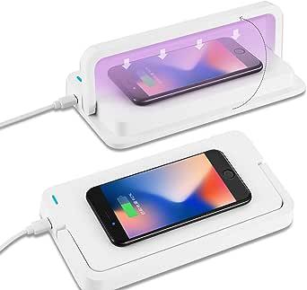 Amlink Spaziosa Sterilizzatore Scatola UV con Diffusore Aromi 10W Disinfezione UV Scatola con Ricarica USB per Maschere Telefoniche Strum Sterilizzatore UV Multifunzionale con Caricatore Wireless