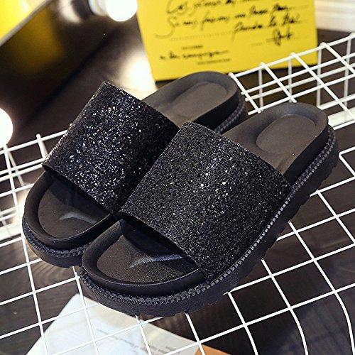 Longra Donne Strass femminile pantofole Nero