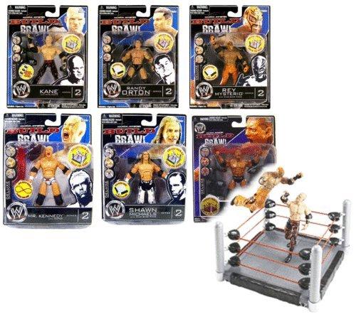 WWF WWE Wrestling Bj N Brawl 9,5cm Figur 6er Set mit bebaubar Ring Wwe Batista Spielzeug