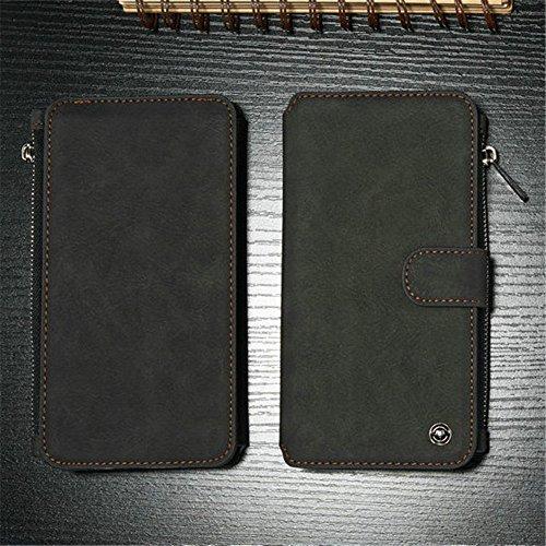 Multi-function Wallet Custodia in Pelle per Apple iPhone 7 Plus - Yihya 2 in 1 Detachable Leather Portafoglio Case Folio Flip Wallet Stand Cover con Card Slots--Nero Nero