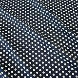 Stoff Baumwollstoff Baumwolle marine weiß Punkte M blau