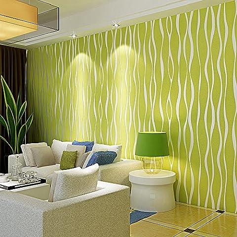 Wall papers Striped wallpaper warm living room bedroom green 3D nonwoven wall wallpaper , wallpaper