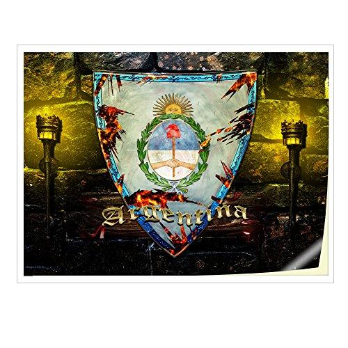 Wappen Argentinien, Skin-Aufkleber Folie Sticker Laptop Vinyl Designfolie Decal mit Ledernachbildung Laminat und Farbig Design für Laptop 11.6
