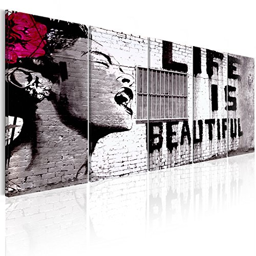 ksy Life is beautiful 200x80 cm - Leinwandbilder - Fertig Aufgespannt - Vlies Leinwand - 5 Teilig - Wandbilder XXL - Kunstdrucke - Wandbild - Street Art Urban Mural i-C-0114-b-m (Frau Bild)