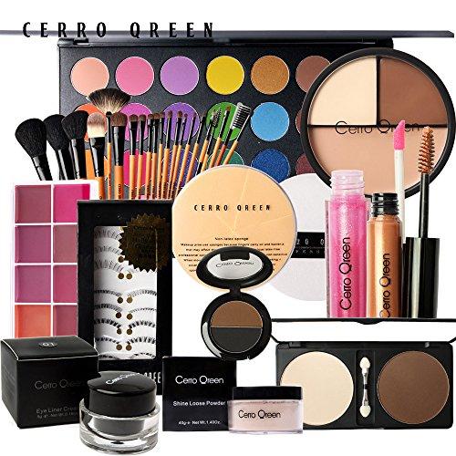 Coffret cadeau palettes maquillage et 22 pinceaux professionnels Cerro qreen