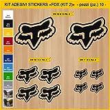 Aufkleber stickers FOX - KIT 2-10 PCS - moto decal bike-Motorrad- Cod. 0788 (070 NERO)