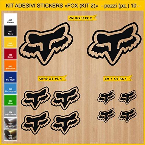 Aufkleber stickers FOX - KIT 2-10 PCS - moto decal bike-Motorrad- Cod. 0788 (070 NERO) (Nero-aufkleber)