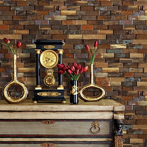 YT43 Holz Ziegel Design Tapete Rolle, 3D Geprägte Multi Holz Gestapelte Wandmalereien Dekoration Schlafzimmer Wohnzimmer Küche Hotel CLUB's Wall 20.8in × 32.8ft (Gestapelte Holz)