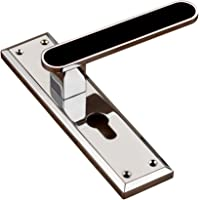 Knex, Plate Mortise Handle with Lock, CP/Black Finish, Zinc Alloy, K-3070 PB