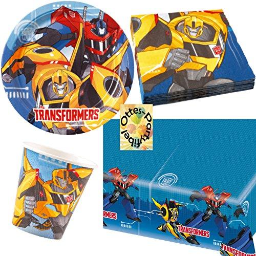 HHO Transformers RID Partyset 54tlg. für 16 Kinder Teller Becher Servietten 2 Tischdecken (Dekorationen Party Transformers)