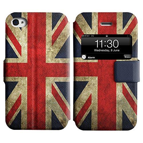 Graphic4You Vintage Uralt Flagge Von Kroatien Kroatisch Design Leder Schützende Display-Klappe Brieftasche Hülle Case Tasche Schutzhülle für Apple iPhone 4 und 4S Uralt Vereinigtes Königreich UK Britisch Flagge