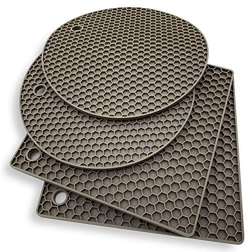 KITCHENATICS Silikon-Untersetzer: 4 Mehrzweck-Topflappen und Untersetzer - Hitzebeständiges Topflappen-Set für warme Speisen - Küchen-Topflappen, Glasöffner, Löffelhalter, Untersetzer - Grau