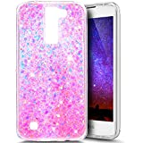 Paillette Coque pour LG K7/K8,LG K7/K8 Coque Silicone Étui Ultra Mince Housse Brillants Coque Rose Etui en Silicone, LG K7/K8 Silicone Case Soft TPU Cover, Ukayfe Etui de Protection Cas en caoutchouc en Ultra Slim Souple Cristal Transparent Clair Gel TPU Bumper Bling Bling Glitter Sparkle Strass Coque Cas Case Cover Couverture Etui pour LG K7/K8