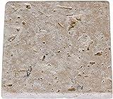 Greendoor Travertin-Stein-Seifenschale / Travertin-Seifenunterlage, getrommelt = antiker Look, abgerundete Kanten, mit Korkpads auf der Unterseite