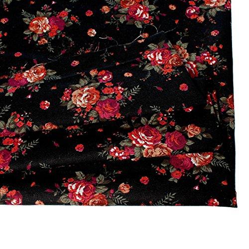 Souarts Textile Tissu Coton Lin pr Diy Patchwork Couture Motif Fleur 150x100cm